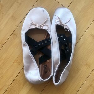 H&M Pink Satin Ballet Flats with Studded Straps